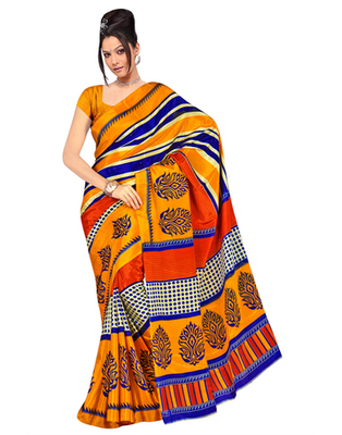 Dealtz Fashion Yellow PrintedG adwal Silk Saree