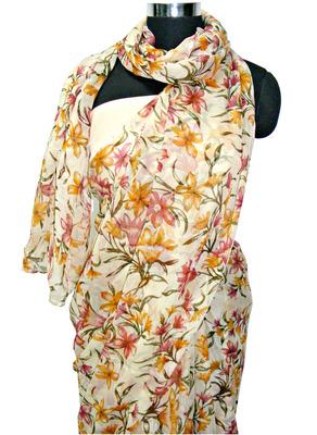 Flower print  semi chiffon saree