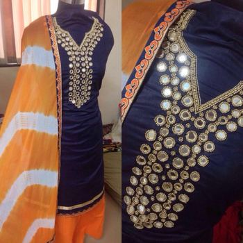1ddaa8674a Blue cotton mirror work semi stitched salwar with dupatta - KRISHA CREATION  - 1465293