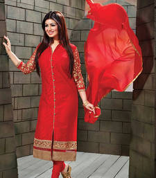 Buy Red cotton embroidered semi stitched salwar with dupatta cotton-salwar-kameez online