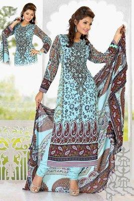 A Sky Blue Georgette Printed Salwar Kameez with Chiffon Dupatta