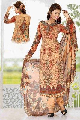 A Peach Colour Georgette Salwar Kameez Showing  Printed work
