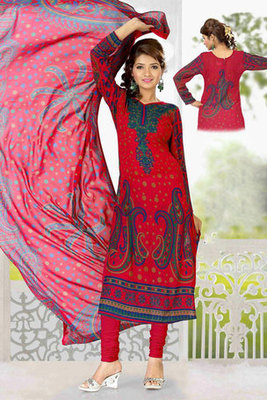 Beautiful Red Colour Georgette Salwar Kameez with Printed work