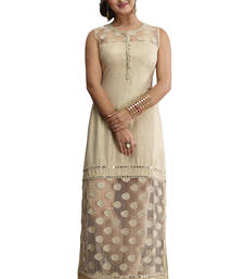 Beige embroidered jute cotton stitched kurti