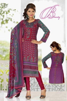 Attractive Maroon Georgette Salwar Kameez with Printed Work