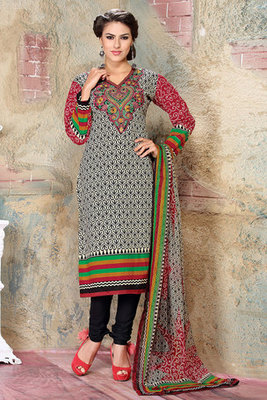 Off white and Black Resham Embroidered Cotton Salwar Suit