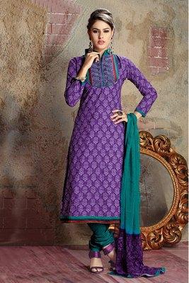 Purple colour Cotton Salwar Kameez with Chiffon Dupatta