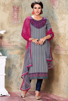 This a Off white and Pink Resham Embroidered Cotton Printed Salwar Suit