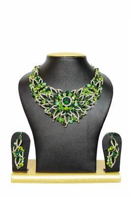 Lamhe Zircon Jewelry Set in Green shades