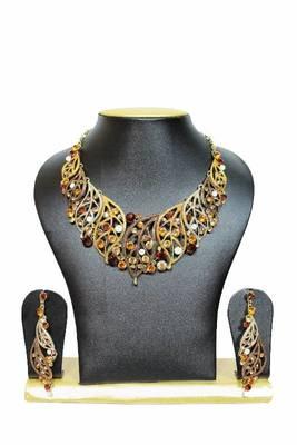 Leafy Design Zircon Jewelry Set in Gold Shades