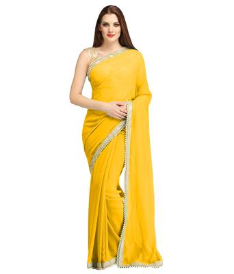 69261a8abb3 Yellow plain faux georgette saree With Blouse - AVSAR PRINTS - 1466116
