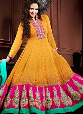 ESHA DEOL YELLOW AND PINK FLOOR LENGTH ANARKALI SUIT