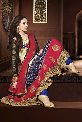 ESHA DEOL WHITE, BLUE, RED NET AND CHIFFON ANARKALI SUIT
