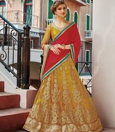 Buy mustard net embroidered unstitched lehenga choli navratri-lehenga-chaniya-choli online