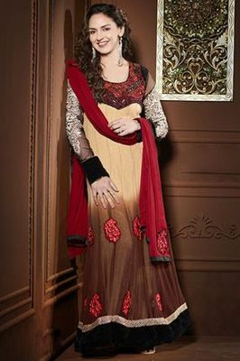 ESHA DEOL BROWN RESHAM WORK ANARKALI SUIT