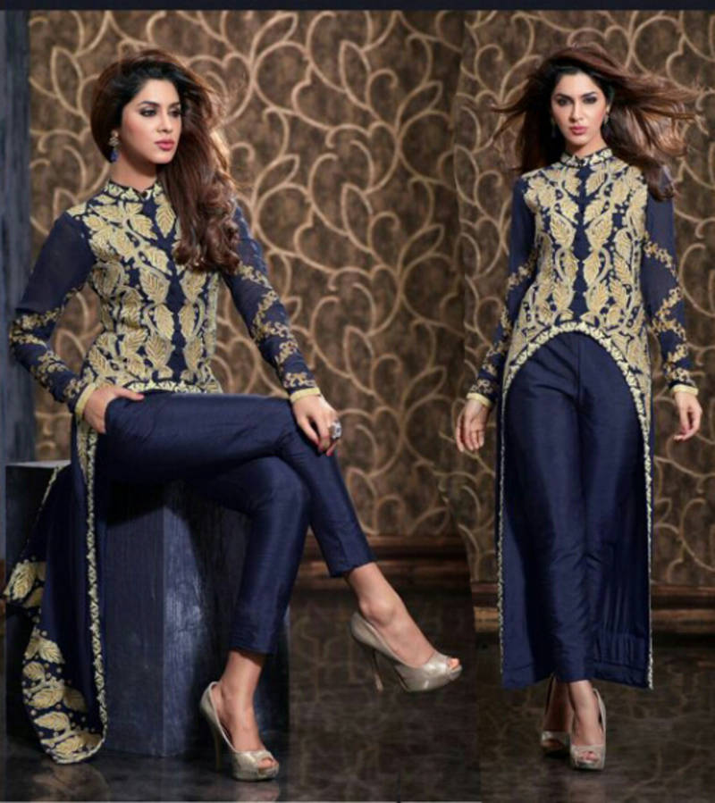 Buy Blue embroidered georgette unstitched salwar with dupatta Online