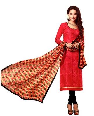 Red Chanderi Silk Unstitched Salwar With Dupatta