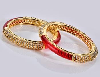 Designer Diamond and Red Colour Bangle