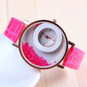 New Fashion Pink color stylist  women's wear Leather strap Quartz Wristwatch