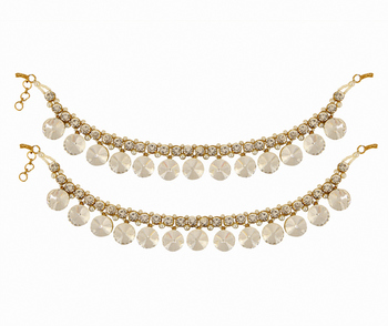 Bollywood Style Traditional Gold White Coloured Pair of Gold Anklets Payal For Women