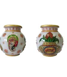 Buy eCraftIndia Ganesha-Kalash Marble Pot(Single piece) other-home-accessory online