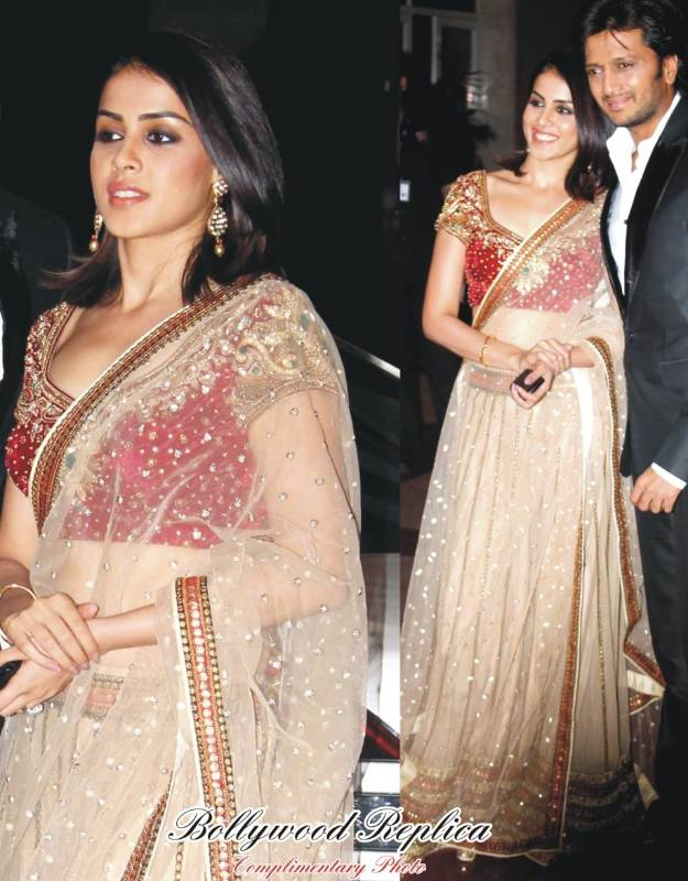 Buy Genelia Dsouza Net Sequins Work Off White Bollywood Style Saree