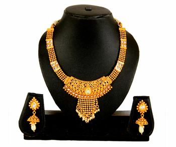 Gold White Pearl Copper Necklace Earring Set For Women