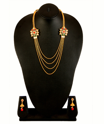 Gold Red Green White Alloy Necklace Earring Set for Women