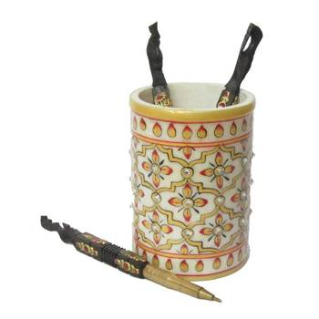 eCraftIndia Floral Marble Pen Stand