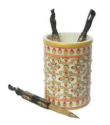 Buy eCraftIndia Floral Marble Pen Stand other-home-accessory online