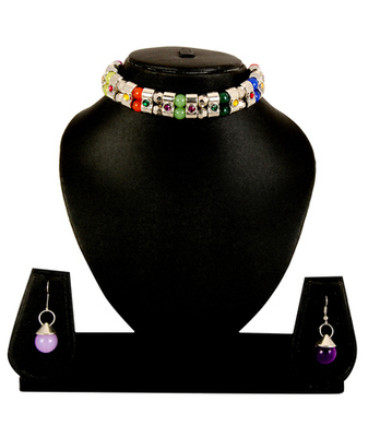 Multi  Colour Necklace Earrings Set For Women And Girls