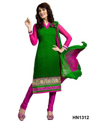 RITI RIWAZ GEORGETTE EMBROIDERY WORK GREEN EMBROIDERY WORK SALWAR SUIT HN1312