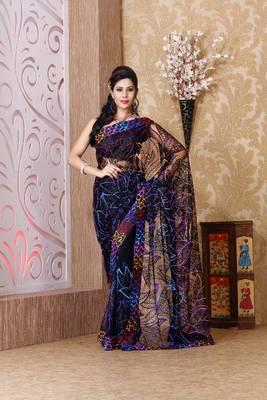 Black net saree with unstitched blouse (bmc1317)