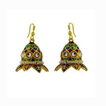 Traditional Kundan Meenakari Jhumki Earrings