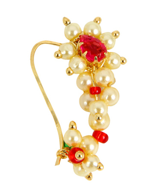 Gold Pink White Combination Maharashtrian Nath Nose Ring for Women