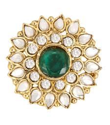 Green White Alloy Adjustable Finger Ring for Women
