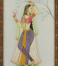 Buy eCraftIndia Ragini with Lotus Marble Painting painting online