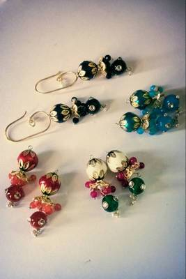changeable earring with colourful drop