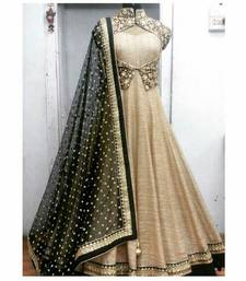 Buy Cream silk embroidered semi stitiched salwar with dupatta anarkali-salwar-kameez online