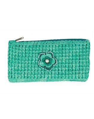 Sea Green Crochet Clutch with Motif
