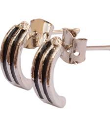 Buy Pair of Smart Stainless Steel Silver Black Earrings For Men men-stud online