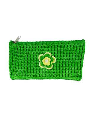 Green Crochet Clutch with Motif