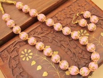 Beautiful Handmade Pink Meenakari Balls Necklace Set