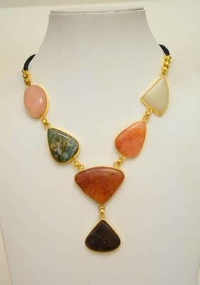 Cocktail Necklace:Stone and Metallic Neckpiece