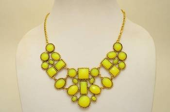 Bright Yellow Resin and Metallic Necklace