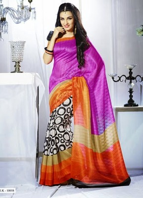 Beautiful, Printed Bhagalpuri Khadi Silk Saree
