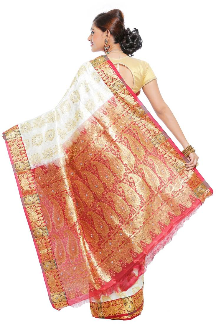 1f4e8394e4 ... Stone work Off White and golden woven art silk saree With Blouse