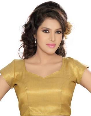 Golden Poly Silk Padded Stitched Blouse Choli