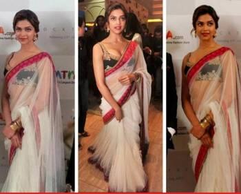 Dipika Padukone Net Sequins work Bollywood Style Saree