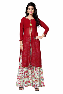 Styles Closet Red printed georgette semi stitched kurti
